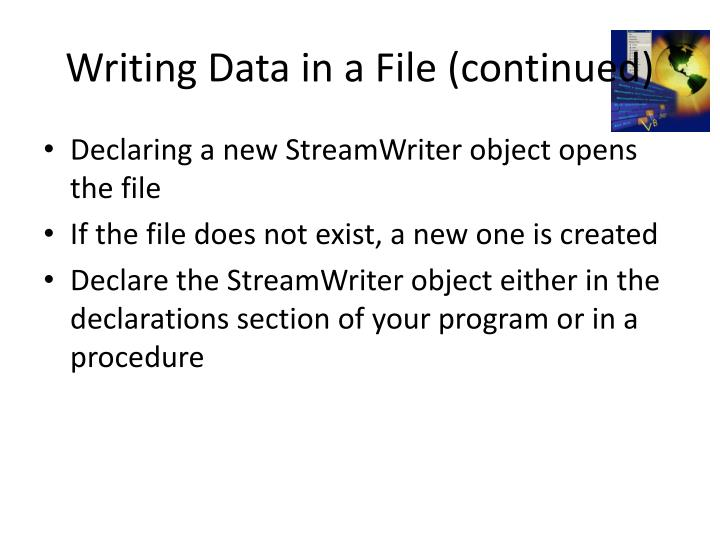 Writing Data in a File (continued)