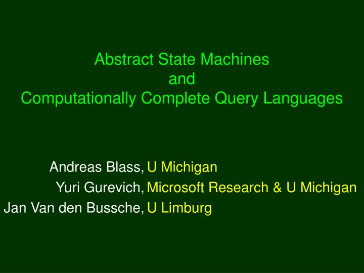 abstract state machines and computationally complete query languages n.