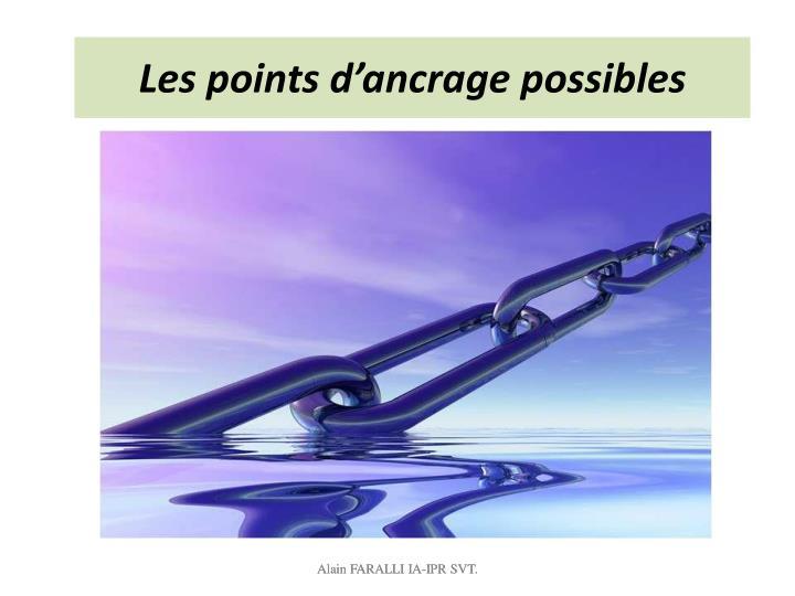 Les points d'ancrage possibles