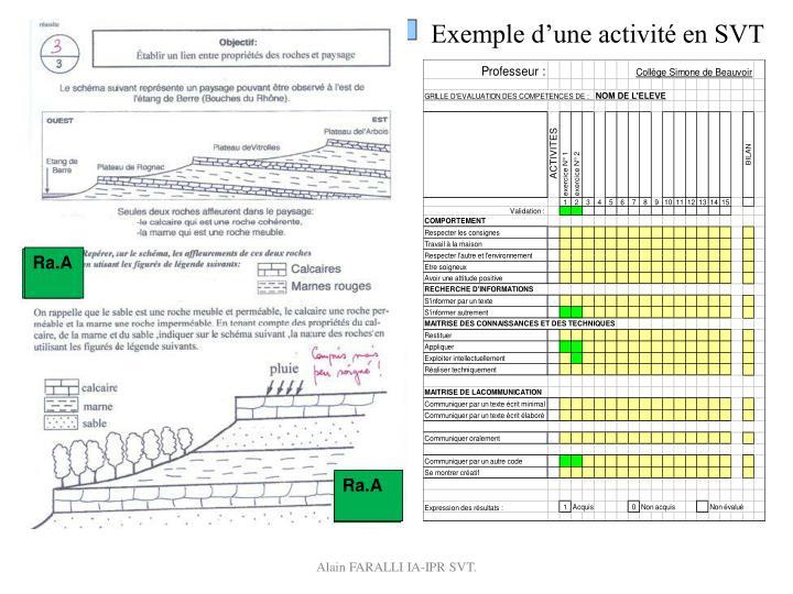 Exemple d'une activité en SVT