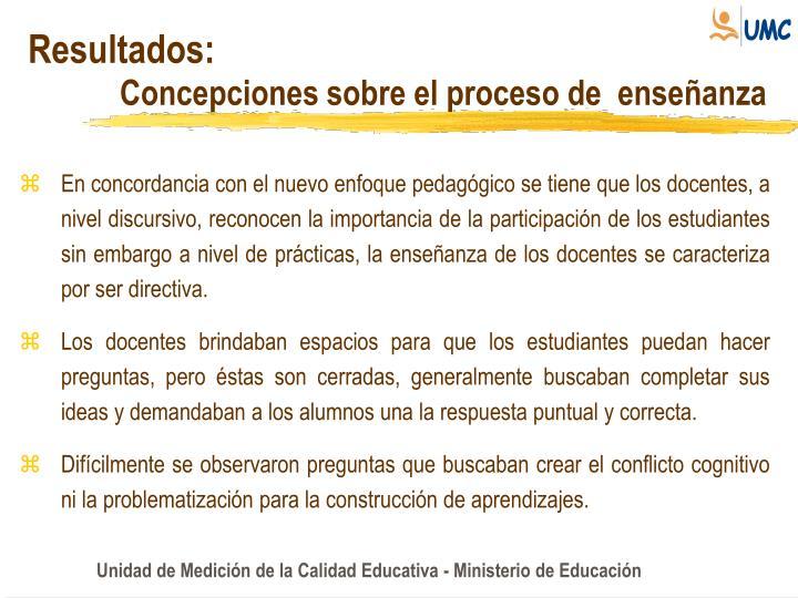 Concepciones sobre el proceso de  enseñanza