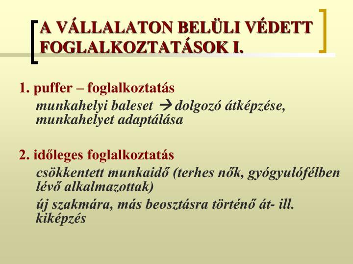 A VÁLLALATON BELÜLI VÉDETT FOGLALKOZTATÁSOK I.