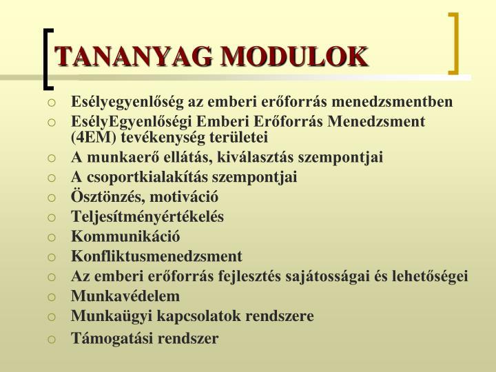 TANANYAG MODULOK