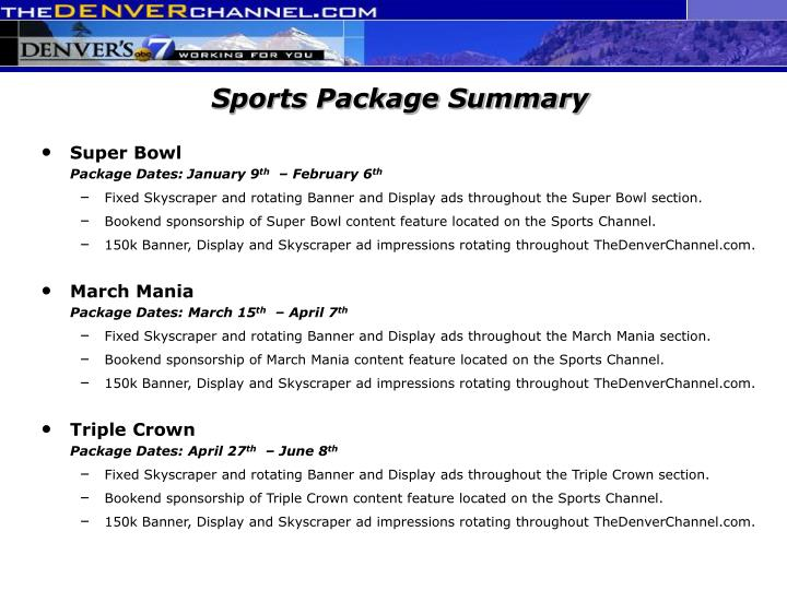 Sports Package Summary