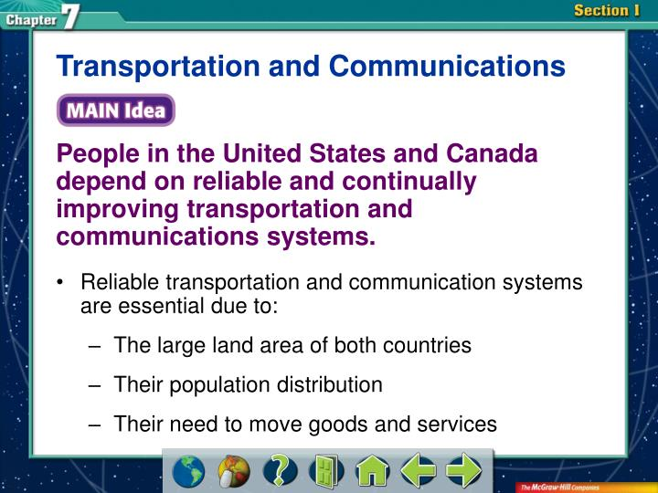 Transportation and Communications