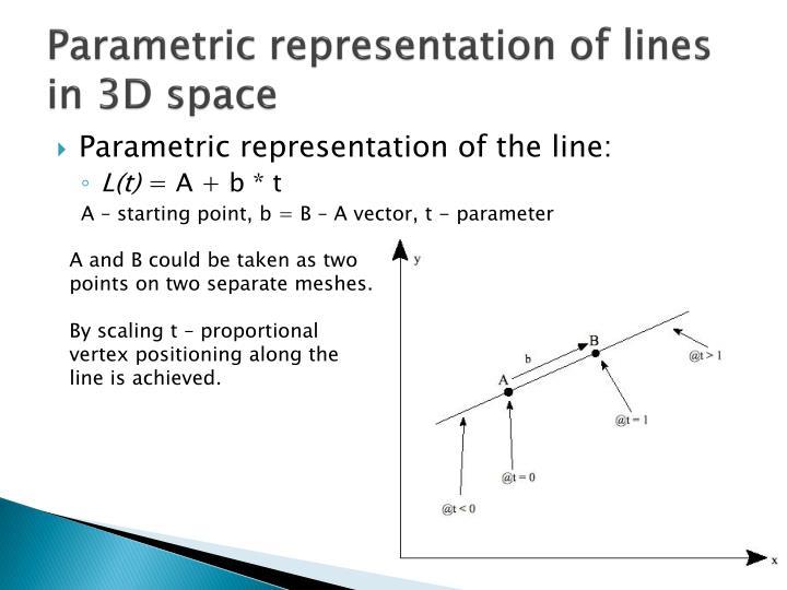 Parametric representation of lines in 3D