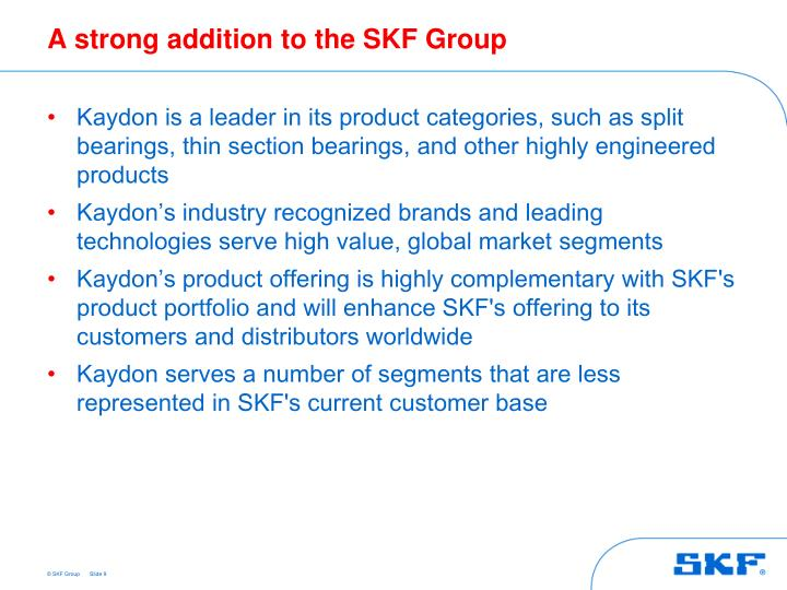 A strong addition to the SKF Group