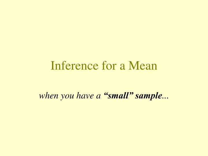inference for a mean n.