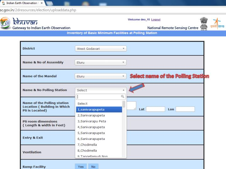 Select name of the Polling Station