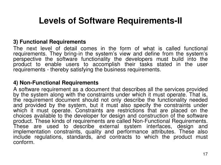 Levels of Software Requirements-II