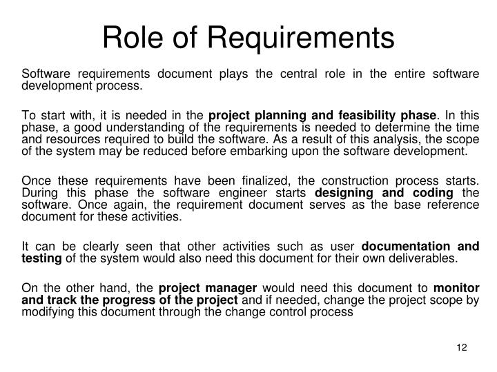 Role of Requirements