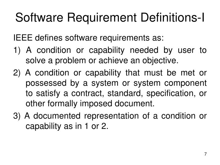 Software Requirement Definitions-I