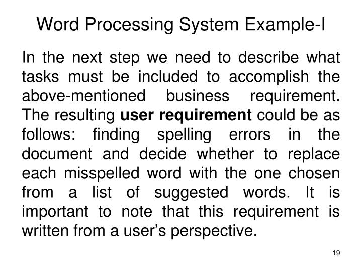 Word Processing System Example-I