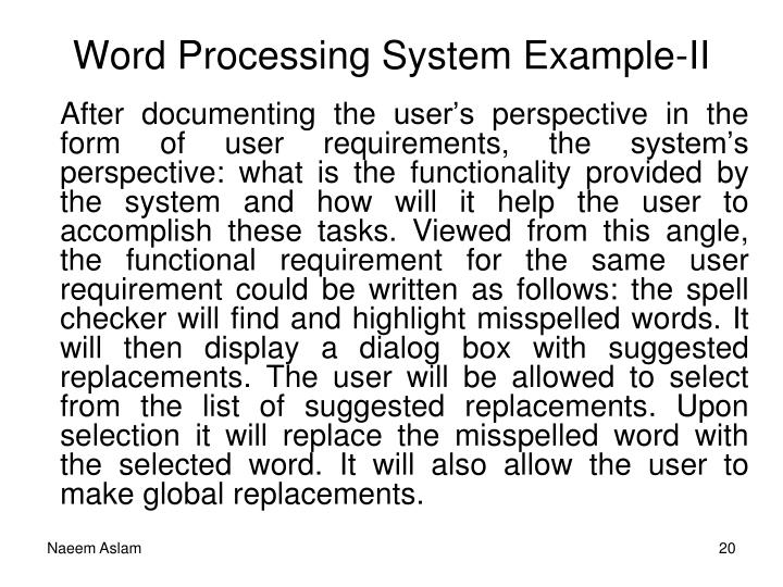 Word Processing System Example-II