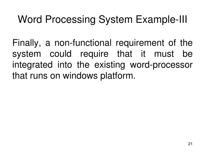 Word Processing System Example-III
