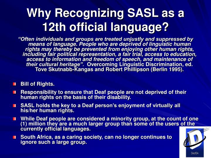 Why Recognizing SASL as a