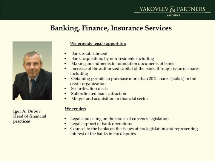 Banking, Finance, Insurance Services