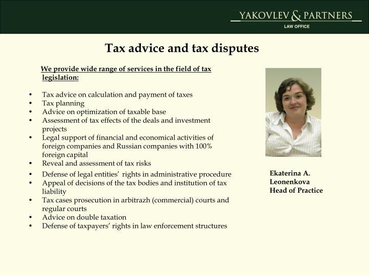 Tax advice and tax disputes