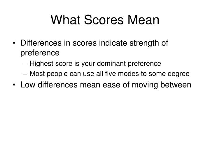 What Scores Mean