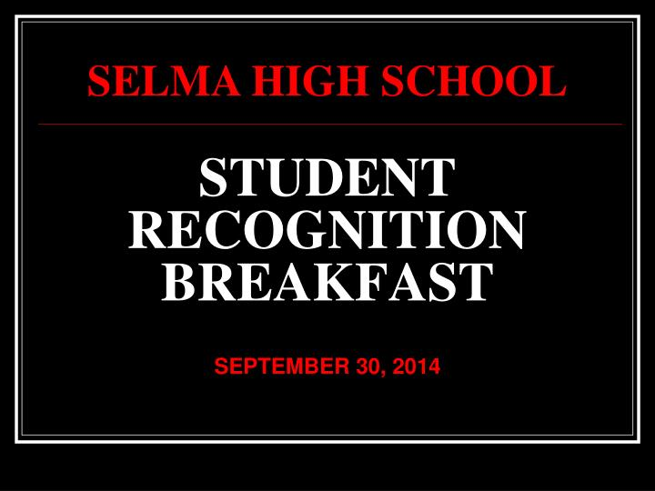 student recognition breakfast n.