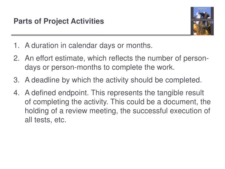 Parts of Project Activities