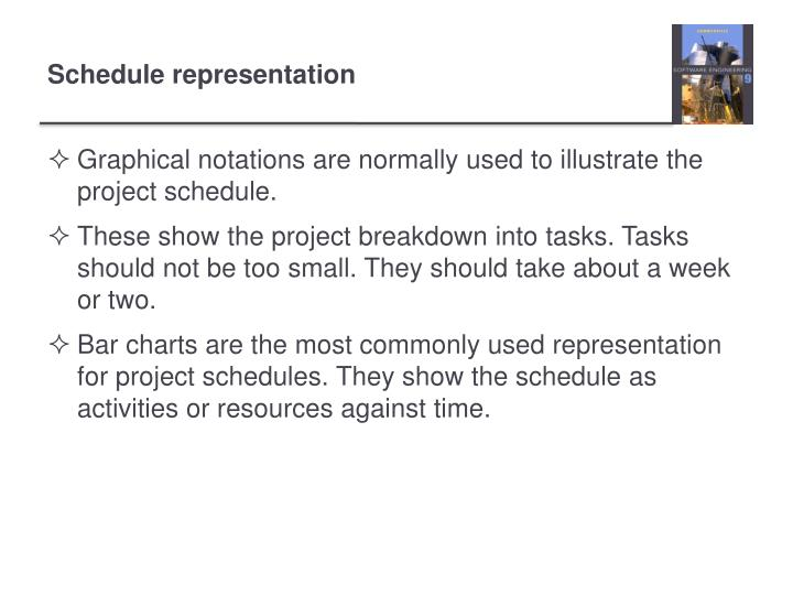 Graphical notations are normally used to illustrate the project schedule.