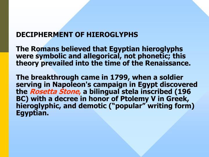 DECIPHERMENT OF HIEROGLYPHS