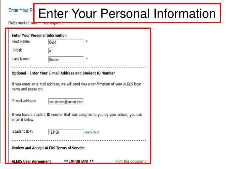 Enter Your Personal Information