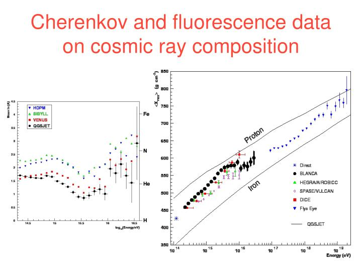 Cherenkov and fluorescence data on cosmic ray composition