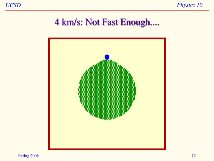 4 km/s: Not Fast Enough....
