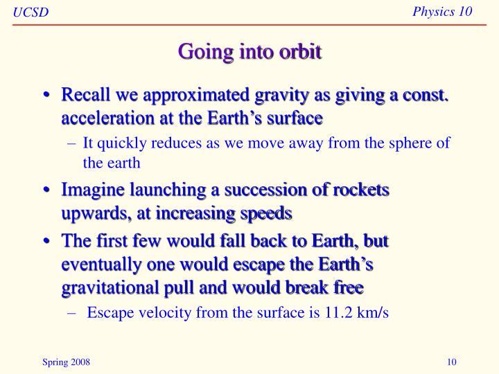 Going into orbit