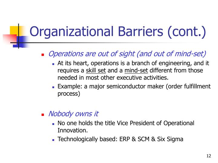 organizational barriers examples