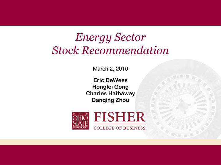energy sector stock recommendation n.