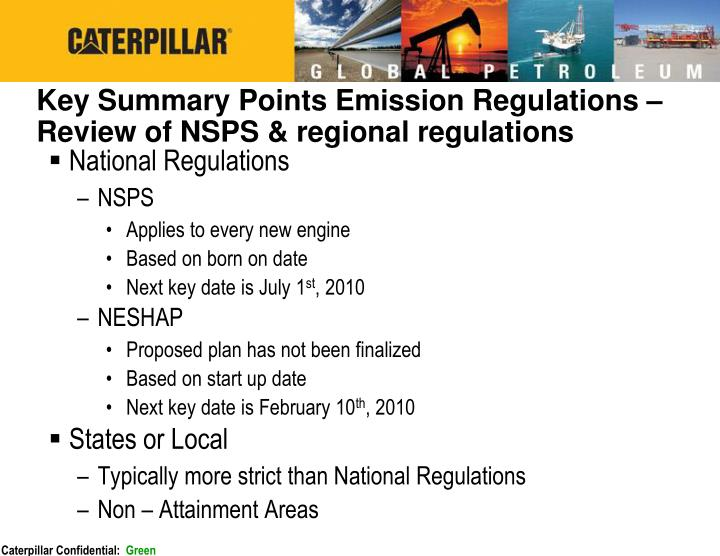 Key Summary Points Emission Regulations – Review of NSPS & regional regulations