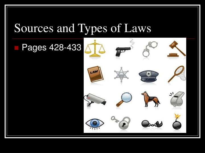 Sources and types of laws