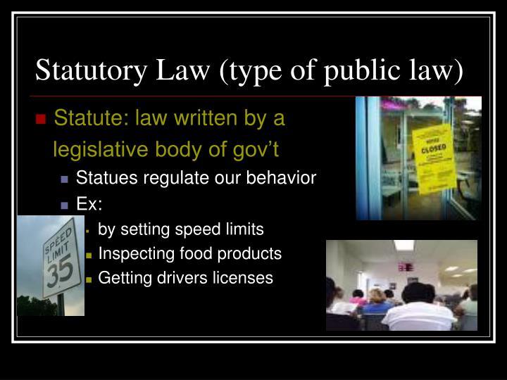 Statutory Law (type of public law)