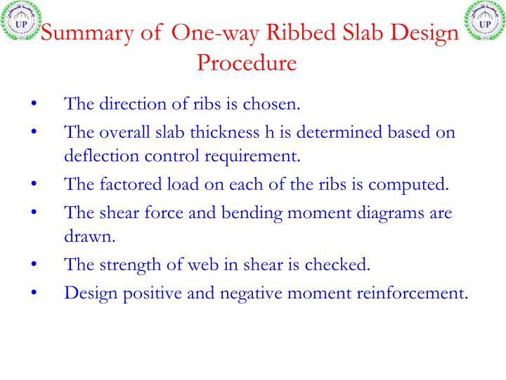 Summary of One-way Ribbed Slab Design Procedure