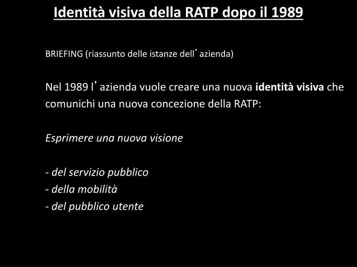 Identità visiva della RATP dopo il 1989