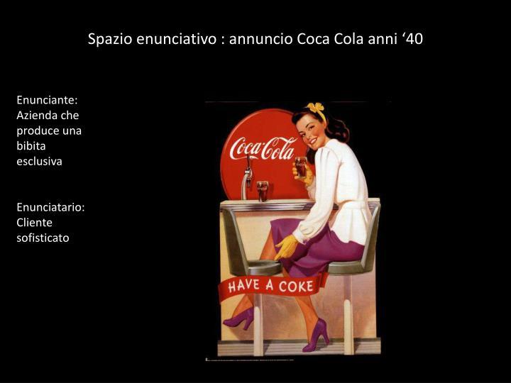 Spazio enunciativo : annuncio Coca Cola anni '40