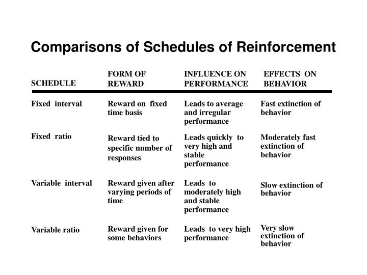 Comparisons of Schedules of Reinforcement