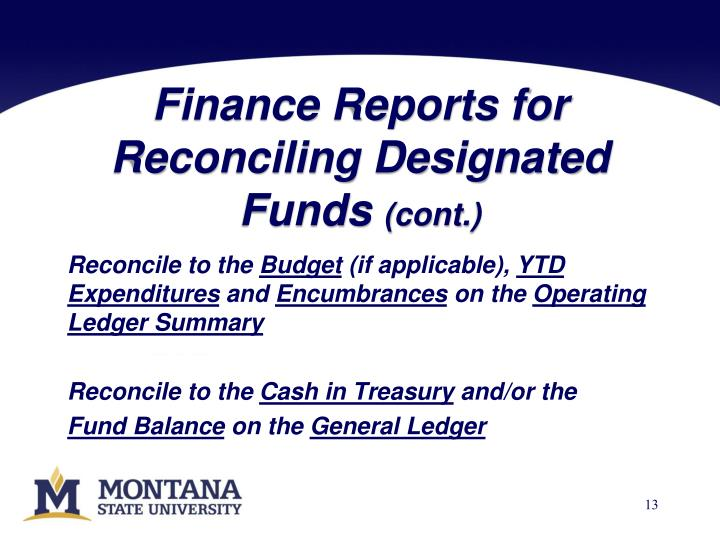 Finance Reports for Reconciling Designated Funds
