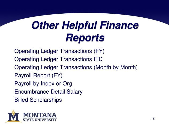 Other Helpful Finance Reports
