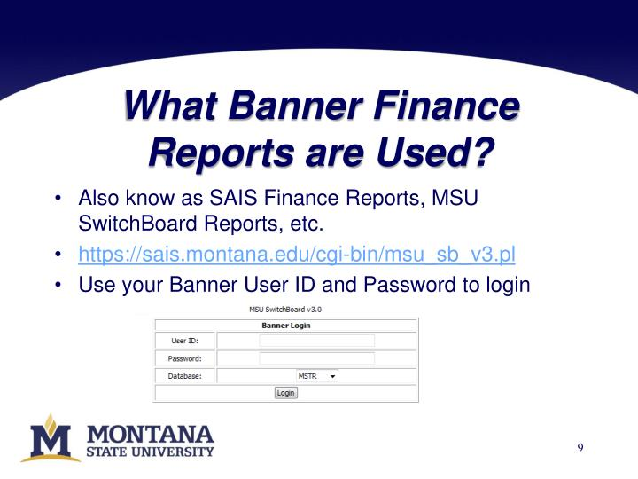What Banner Finance Reports are Used?