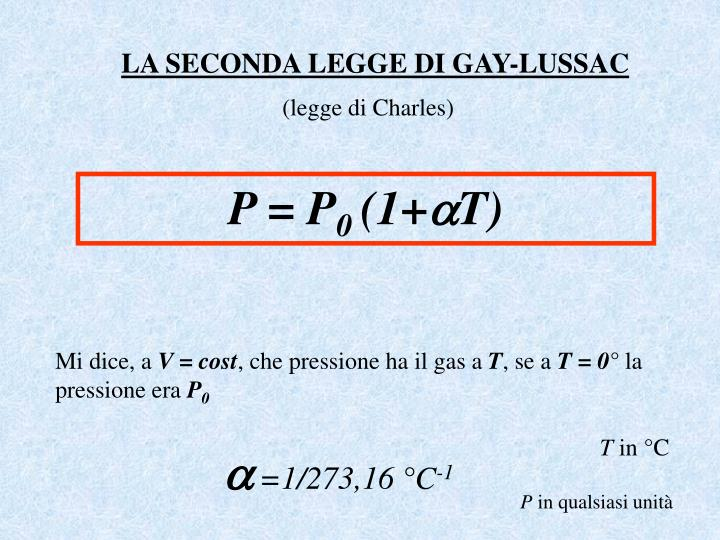 LA SECONDA LEGGE DI GAY-LUSSAC