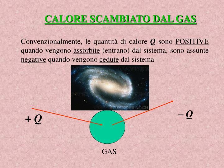 CALORE SCAMBIATO DAL GAS