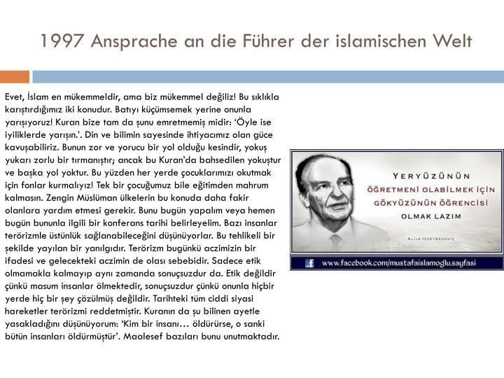 1997 Ansprache an die Führer der islamischen Welt