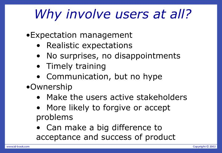 Why involve users at all