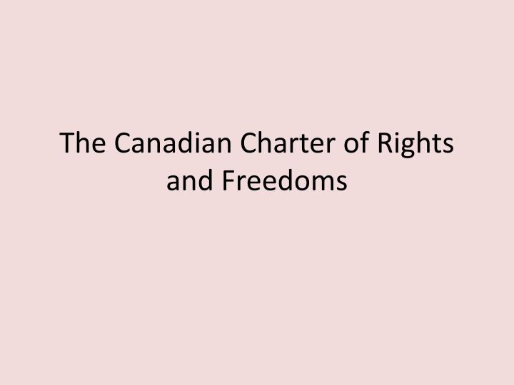 the canadian charter of rights and freedoms n.