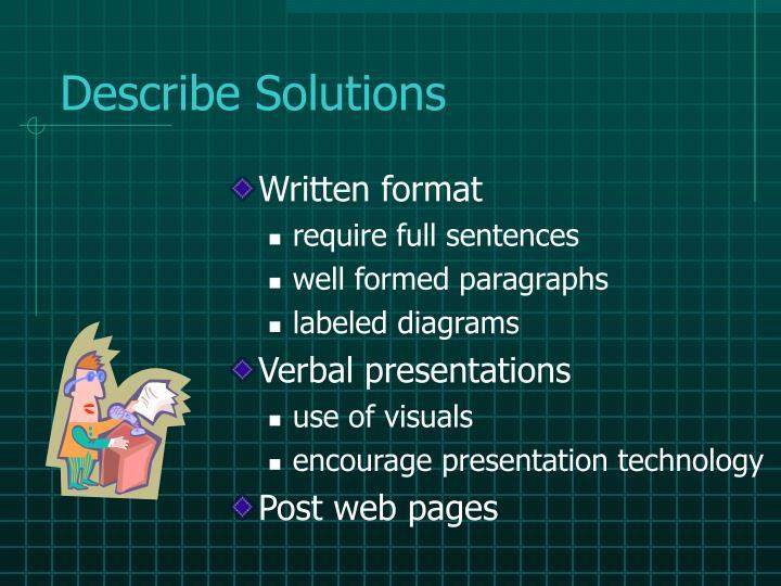 Describe Solutions