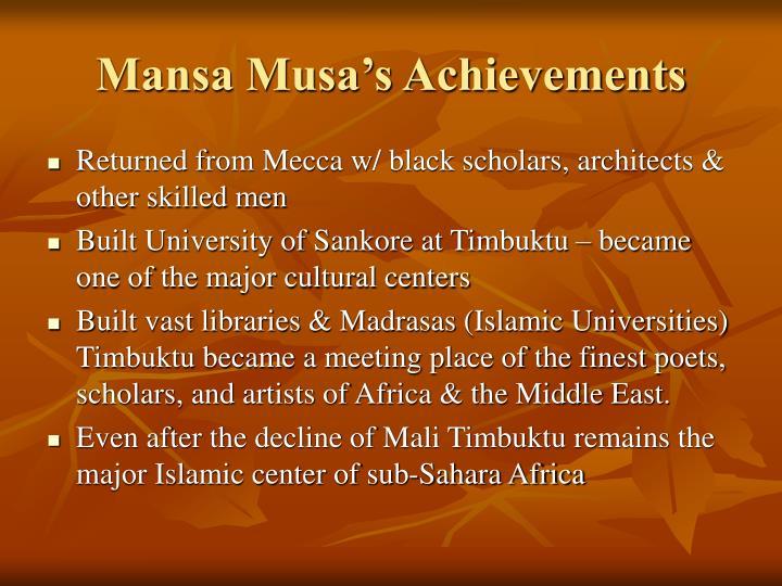 mansa musa achievements